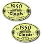 PAIR Distressed Aged Established 1950 Aged To Perfection Oval Design Vinyl Car Sticker 70x45mm Each